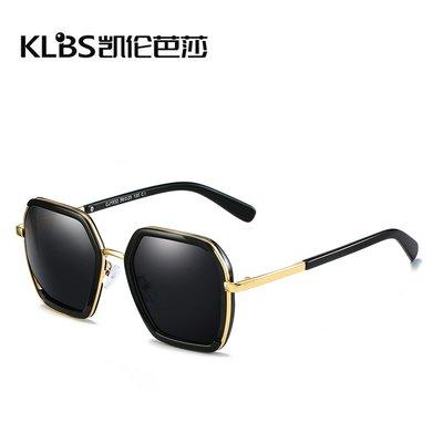 [凱倫芭莎]2003眼鏡鏡框墨鏡太陽眼鏡鏡片新款男女士通用太陽鏡時尚個性多邊形金屬大框眼鏡駕駛遮陽墨鏡36