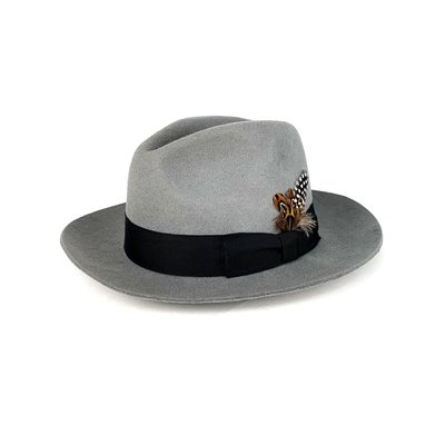 ☆Yango Wu☆ 紳士帽-大帽沿三凹款 灰色黑緞帶款 紳士帽 羽毛  編號:006220