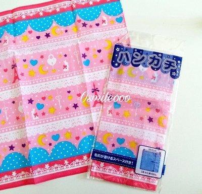 Osmileooo-粉紅星星月亮圖案純棉紗手帕 手巾仔 30×30cm