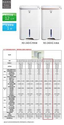 HITACHI 日立 除濕機 最新機種(RD-240HS)  / (RD-240HG)光觸媒負離子 可議價