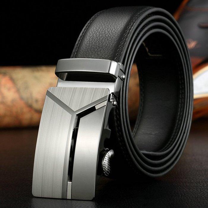 ZK2003BK韓版銀色造型自動扣牛皮腰帶皮帶黑色(腰圍在22-42吋內適用)