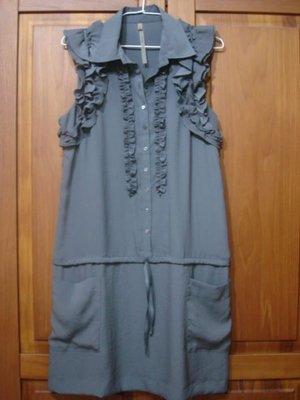 百貨專櫃 cop.copine 深灰色翻領無袖甜美造型洋裝 / 長上衣 (特惠$980含郵) 降價