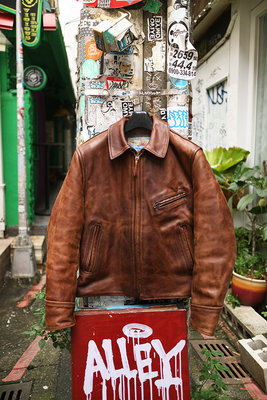 [ Satisfaction ]Aero Leather經典棕色直拉鍊翻領茶芯馬皮皮衣Made in Scotland