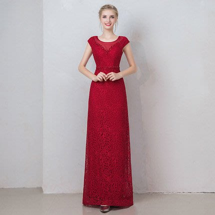 妞妞 婚紗禮服~婆婆媽媽主婚人酒紅色新娘主持人婚纱長禮服~3件免郵