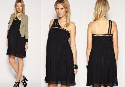 【ASOS WORLD】英國直送 UK12現貨特價 ASOS 黑色斜肩單肩氣質名媛雪紡洋裝小禮服 孕婦裝