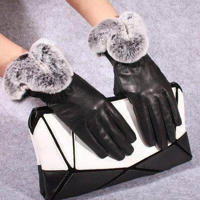 真皮手套 羊皮手套-保暖獺兔毛光面黑色女手套73wf3[獨家進口][米蘭精品]