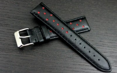 艾曼達精品~20mm royal marshal跑車運動風格高級真牛皮製錶帶適合替代各式原廠20mm錶帶黑+紅