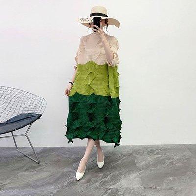 長袖洋 裝 連身 長裙-不規則壓皺寬鬆拼色女裙子4色73yf2[獨家進口][米蘭精品]