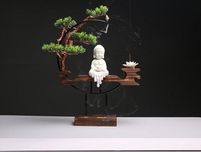 新中式禪意陶瓷家居客廳辦公室桌佛像創意招財飾品擺件玄關倒流香