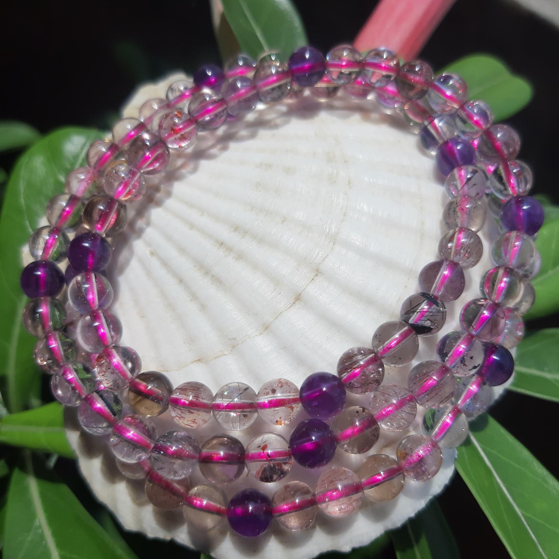 [集圓水晶]頂級100%天然三輪紫超七清透料繞三圈圓珠手鍊重24g