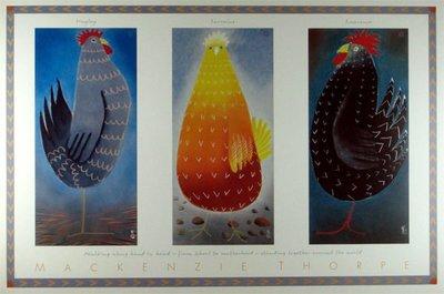 ◎『佳家畫廊』→名畫Mackenzie Thorpe【可愛動物~公雞】圖紙海報7◎幼稚園/兒童房/設計師