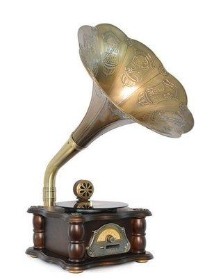 ~誠萍~歐式英倫風 古典風情 復古懷舊 老式唱片 黑膠唱片留聲機 可USB 唱片行  天籟之音A款-方柱直購價$6990