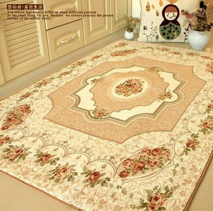 粉紅玫瑰精品屋~ 歐式玫瑰客廳地毯 床邊毯~150*200公分