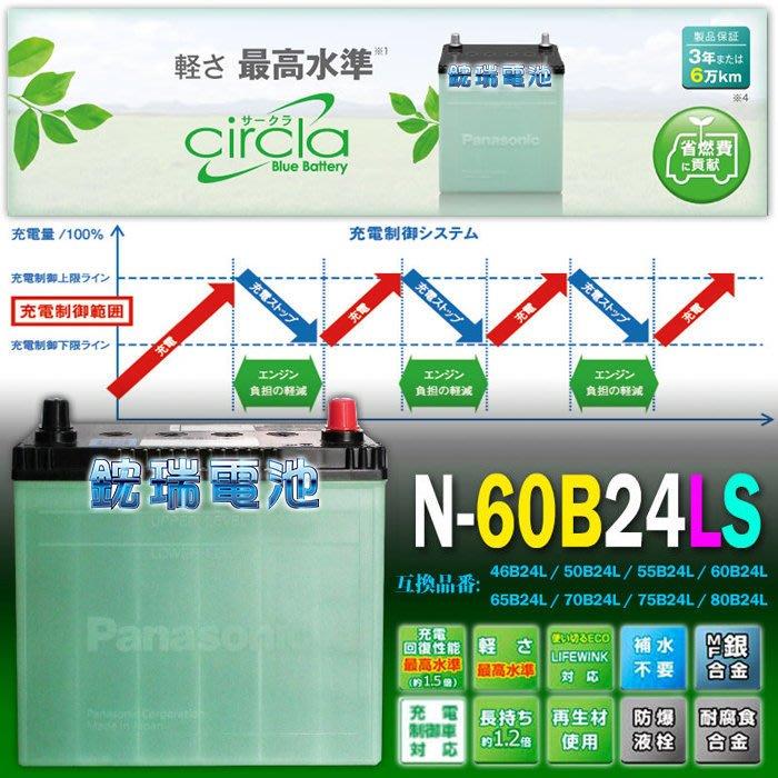 【鋐瑞電池】日本製 國際牌 60B24LS 銀合金 制御車 汽車電池 55B24LS K12 CIVIC K8 K14