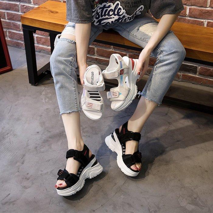Fashion*涼鞋 坡跟真皮ins運動涼鞋 夏新款休閒厚底8cm松糕底魔術貼潮鞋