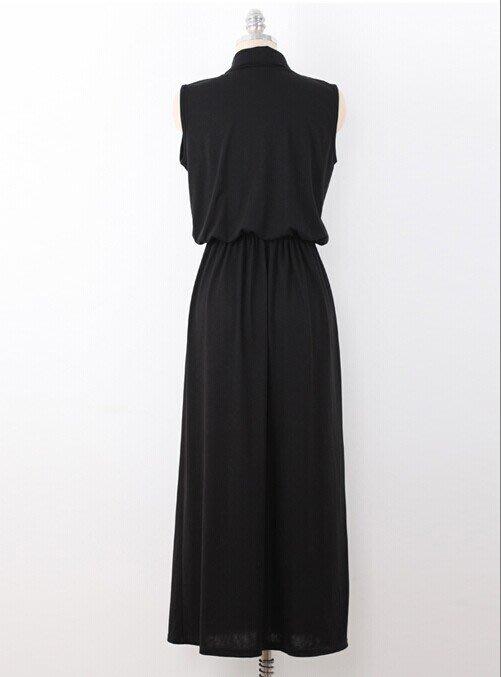 零碼出清現金價_品名: 襯衫式開襟背心洋裝(單色黑色) J-11403