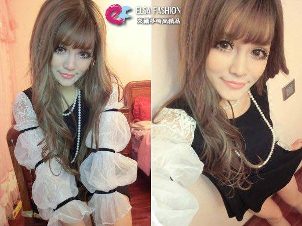 長袖洋裝 艾爾莎 春裝新款甜美公主網紗蕾絲袖連身裙【TAS8875】