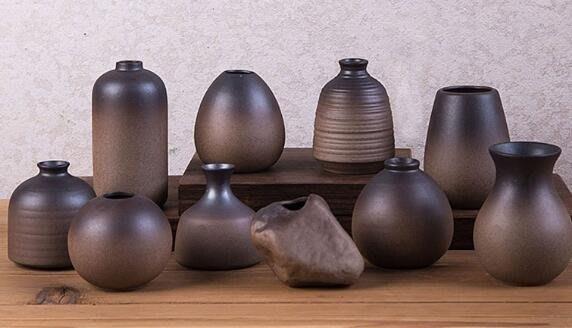 擺件桌面陶瓷小花器家居復古水培花瓶禪意日式干花插