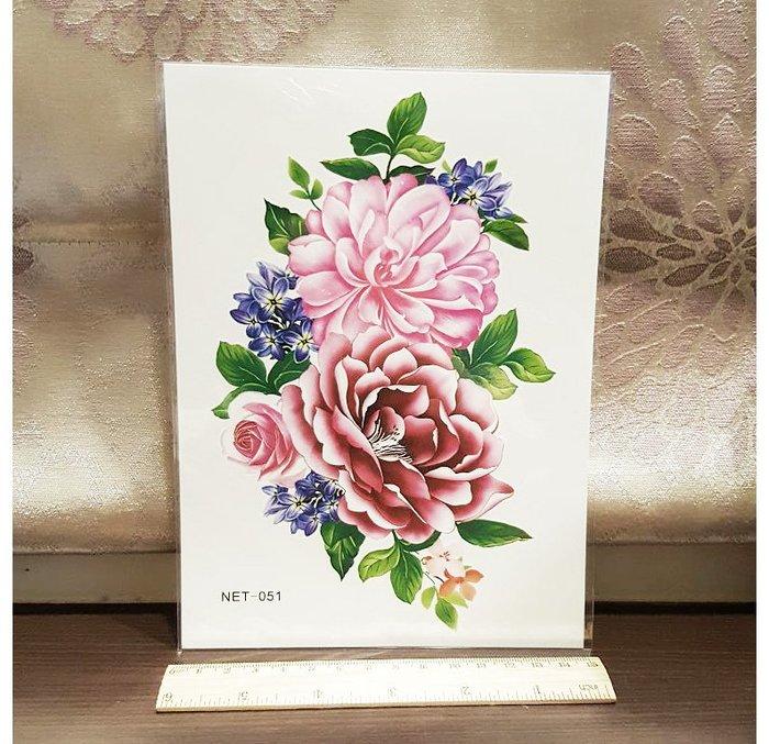 【萌古屋】粉紅牡丹手臂大圖 - 男女防水韓風簡約紋身貼紙刺青貼紙K32