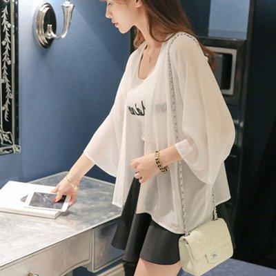 依人韓國專賣店短款小披肩洋氣上衣女2020夏季新款正韓薄款防曬衫寬松雪紡衫開衫