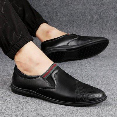 【時尚先生男裝】大碼男鞋2020春夏頭層牛皮豆豆鞋真皮駕車鞋一腳蹬低幫鞋休閑男鞋 2005240914