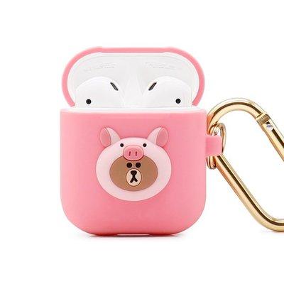 正版 LINE FRIENDS AirPods / AirPods2 藍芽耳機盒保護套 叢林系列 小豬熊大