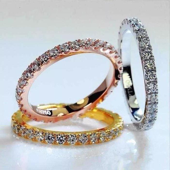大牌同款 純銀鑲嵌滿圈仿真鑽指環 求婚結婚鉆鑽求婚 結婚高仿真鑽石手飾 歐美豪華高檔微鑲純銀戒指 FOREVER鑽寶