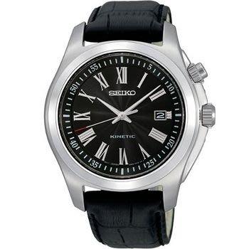 可議價.「1958 鐘錶城」SEIKO精工錶 KINETIC 時尚人動電能腕錶(SKA469P2)-銀/40mm