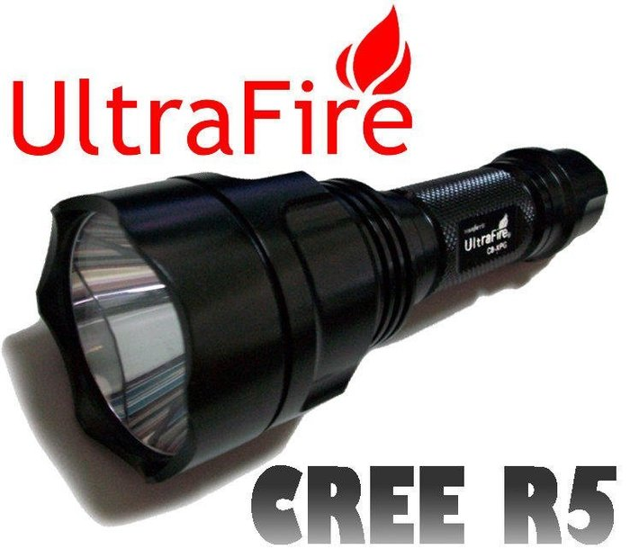 絕對正廠真品 UltraFireC8 R5晶片強光戰術手電筒/強光手電筒 非Q3 Q5 R2/XML T6(圖四全配)
