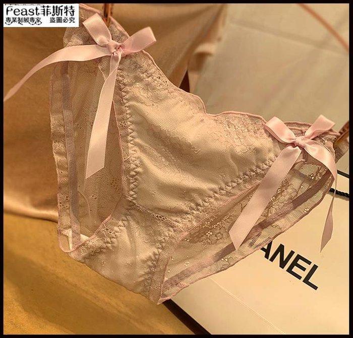 【Feast-菲斯特】-日系性感蕾絲女士內褲 可愛甜美提花透視網紗黑色三角底褲AX31