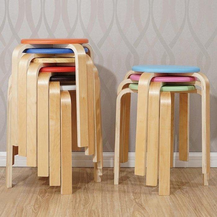 實木凳子簡易板凳家用凳子時尚創意餐桌凳高凳子加厚成人小圓凳子  YDL