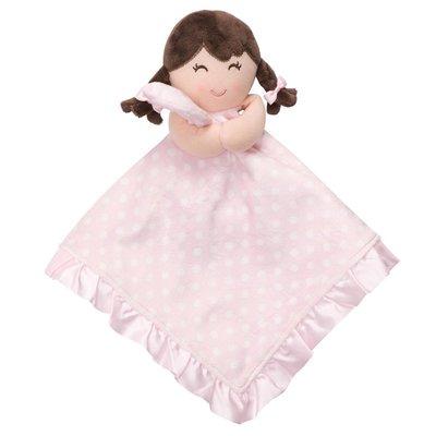 ☆奇奇娃娃屋(QH)☆Carter'品牌,可愛的小女孩搖鈴安撫巾,底部是絲質,(粉色點點款)~290元