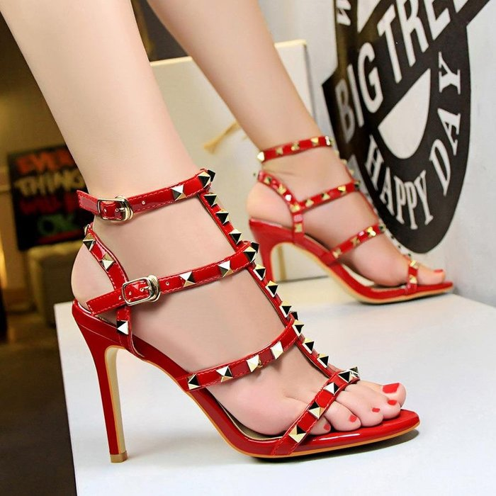 露趾12月10公分9CM厘米超高跟鞋紅色鉚釘性感細跟女涼鞋一字帶扣8