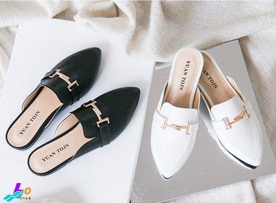 Lo流行女鞋~*^^*隨興步調*^^* M I T 質感馬銜釦低跟穆勒鞋