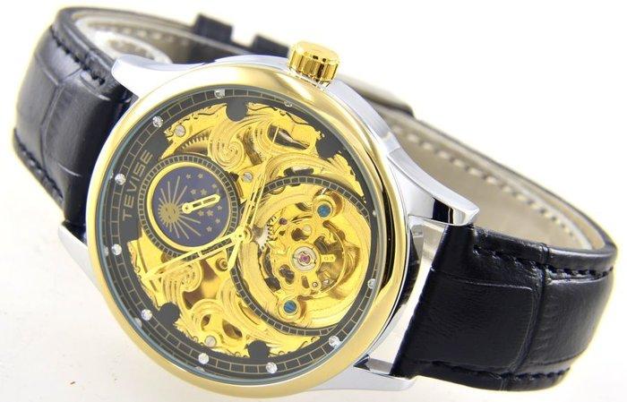 (六四三精品)TEVISE特威司金外框大錶徑4.0公分,雙面鏤空.黑框金面.時.分.秒大三針及日月相功能自動上鍊機械錶