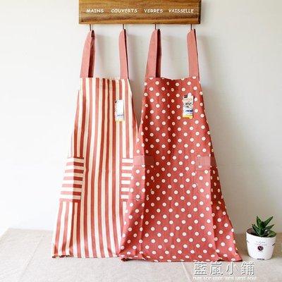 全純棉布圍裙 家用帶兜廚房防油污水 定做印logo
