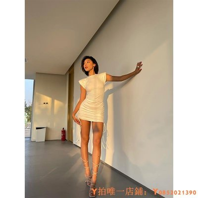 洋裝VanessaLab slay模特款前衛設計超氣場墊肩收腰抽繩連衣裙女夏季
