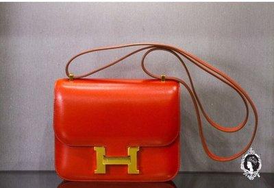Hermes Mini Constance 康康包 Swift 金釦 9M Sanguine 紅橘色《精品女王全新&二手》