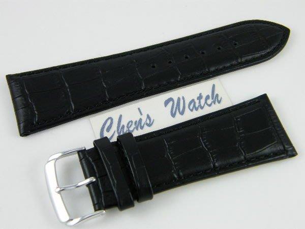 【錶帶家】30mm『頂級代用』LIMA 義大利進口牛皮錶帶壓鱷魚皮紋真皮錶帶 30mm 收 22mm 黑色咖啡色