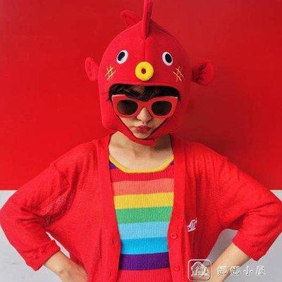 河豚拍照兒童節頭套帽子卡通搞怪賣萌紅色...