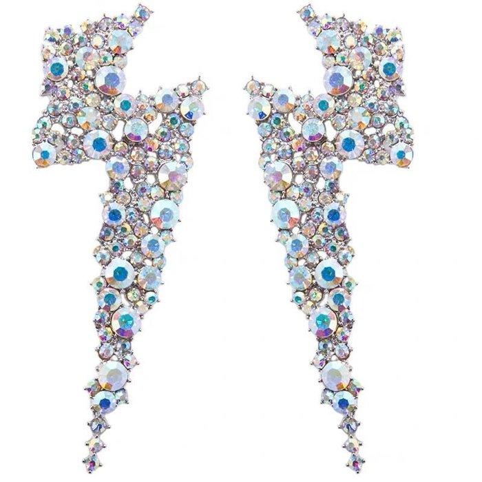 現貨 訂製 歐美款 滿鑽 大閃電 耳環(同款YUN YUN SUN NEBULA - Nova Earrings )