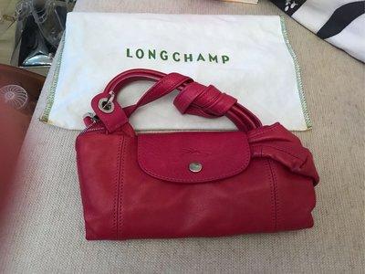 Longchamp 二手羊皮包,桃紅色,S號