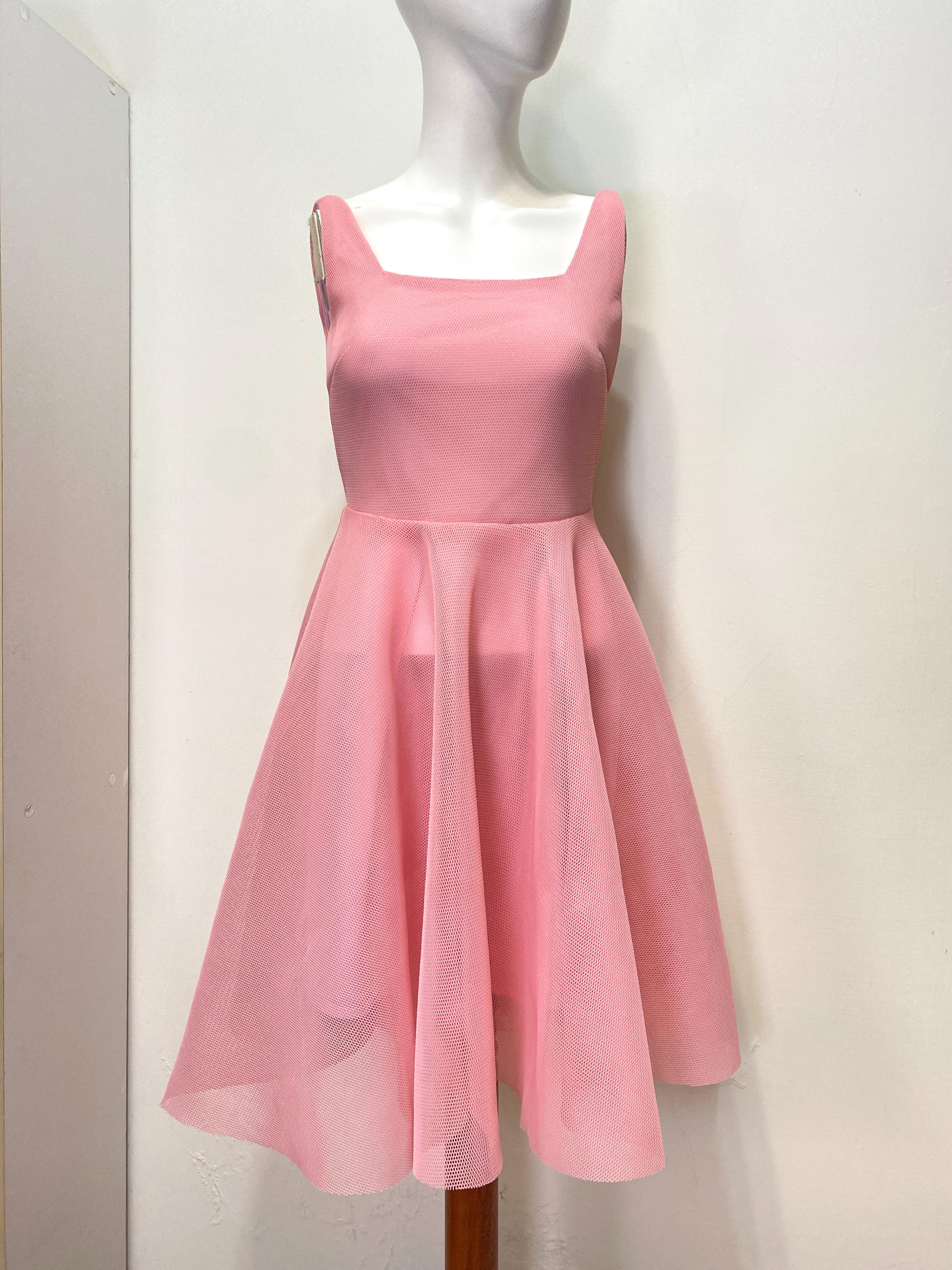 YLQX 粉色 網狀 立體 澎澎 宴會 禮服 洋裝