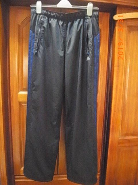 正品Adidas運動長褲 climacool 黑色藍條紋 XL