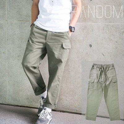 【Random】 【大口袋抽繩軍裝工作褲】 大口袋 軍綠 黑 軍事風 工作褲 6叔 余文樂風格可參考 S~3XL 現貨