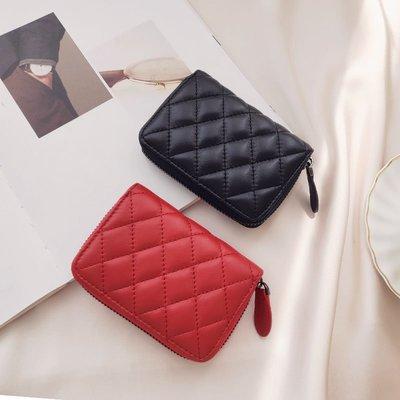 【極簡時尚】羊皮零錢包短夾菱格真皮短款錢包