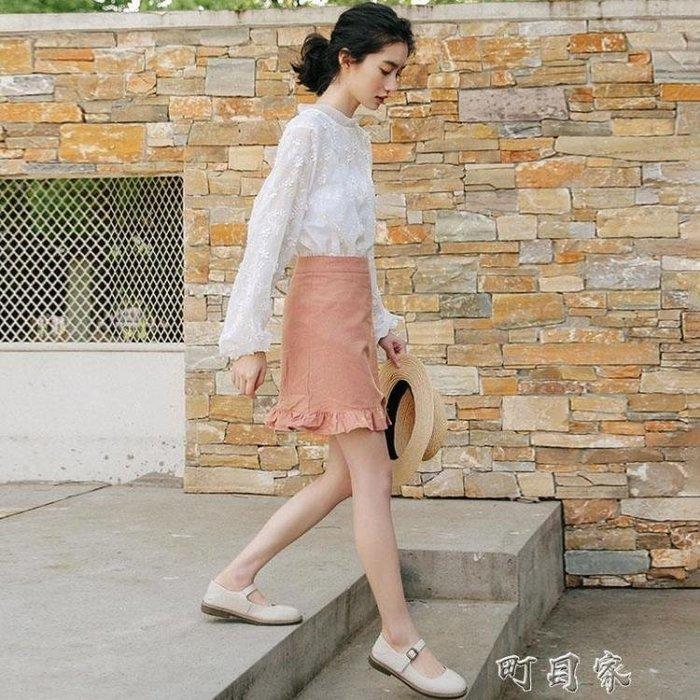 學生白色雪紡衫上衣女長袖燈籠袖泡泡袖鏤空網紗蕾絲衫夏