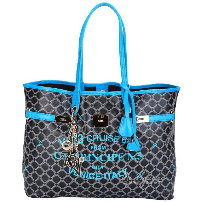 米蘭廣場 V73 Cruise 菱格圖騰轉印設計購物包(水藍色) 1440090-27