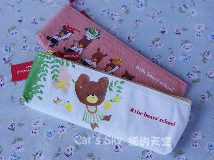 《Cat Sky》日本進口『the bears' school小熊學校』小熊盪鞦韆 ! 白色筆袋