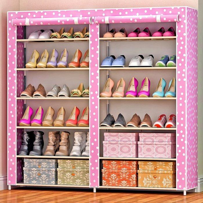 居家 置物架 鞋架 收納架 簡約 創意 簡易鞋柜 鞋架 防塵防潮多層鞋架 包郵 雙排12格布鞋柜